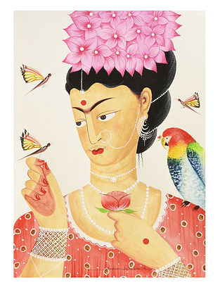 Kalighat Pattachitra Kali-Kahlo with Butterflies Digital Print on Archival Paper (11.5in x 8.5in)
