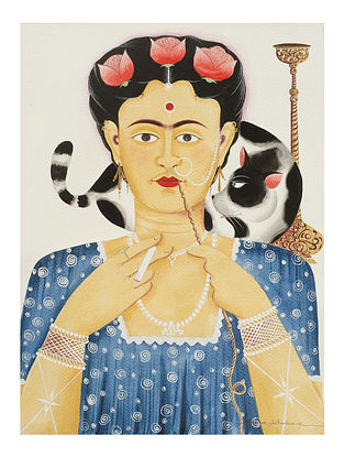 Kalighat Pattachitra Kali-Kahlo with Cat Digital Print on Archival Paper (8.25in x 11.6in)