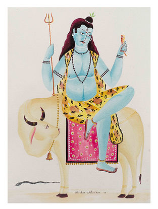 Limited Edition Kalighat Shiva on Bull with Sitar Print on Archival Paper- 8.5in x 11.5in
