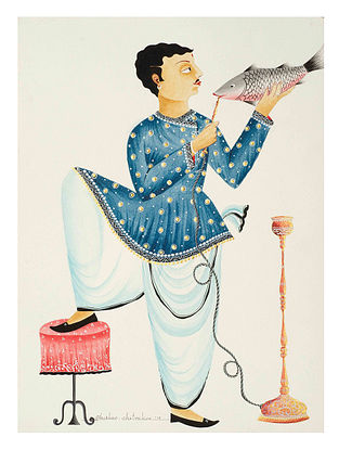 Limited Edition Kalighat Babu Feeding Hookah to Fish Print on Archival Paper- 8.5in x 11.5in