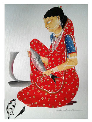 Limited Edition Kalighat Bibi in Red Sari, Cutting Fish Print on Archival Paper- 8.5in x 11.5in
