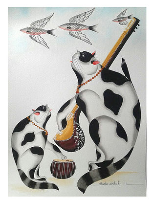 Limited Edition Kalighat  Musician cats and flying fish Print on Archival Paper- 8.5in x 11.5in