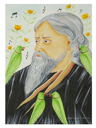 Limited Edition Kalighat The Poet and his parrots Print on Archival Paper- 8.5in x 11.5in