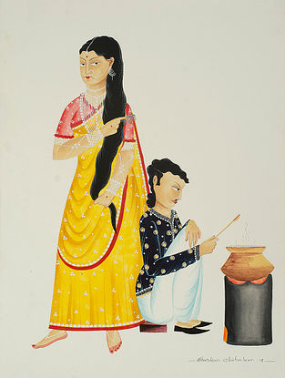 Limited Edition Kalighat Pattachitra Babu-Bibi in the kitchen Print on Paper- 8.5in x 11.5in