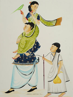Limited Edition Kalighat Pattachitra Hen-pecked Babu Digital Print on Paper- 8.5in x 11.5in