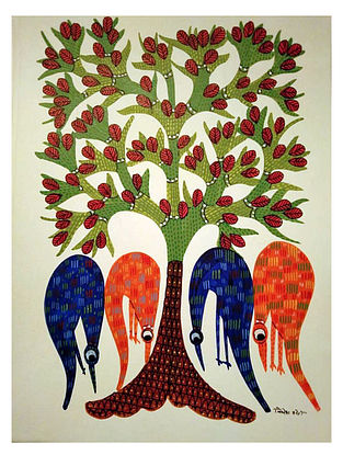 Four Birds Searching Gond Tribal Art on Paper (10in x 14in)
