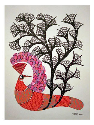 Pink Bird Gond Tribal Art on Paper (10in x 14in)
