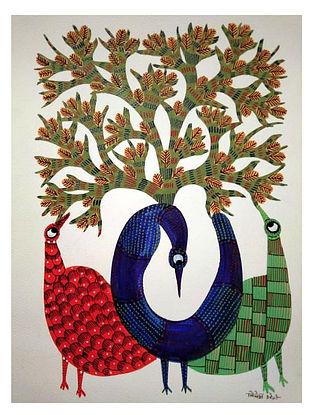 Bird Trio Gond Tribal Art on Paper (10in x 14in)
