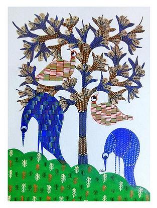 Blue Bird Gond Tribal Art on Paper (10in x 14in)