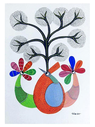 Peacock and Peahen Bird Gond Tribal Art on Paper (10in x 14in)