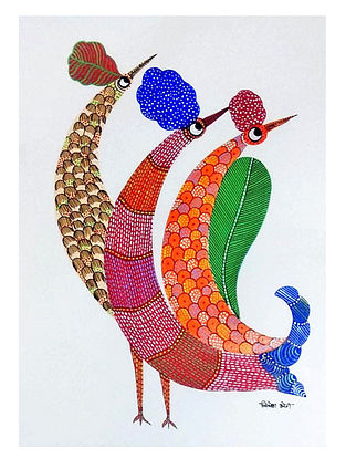 Looking Back Gond Tribal Art on Paper (10in x 14in)