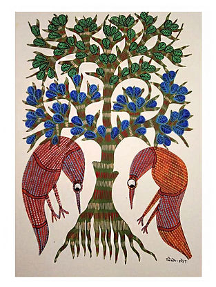 Two Bird Searching Gond Tribal Art on Paper (10in x 14in)