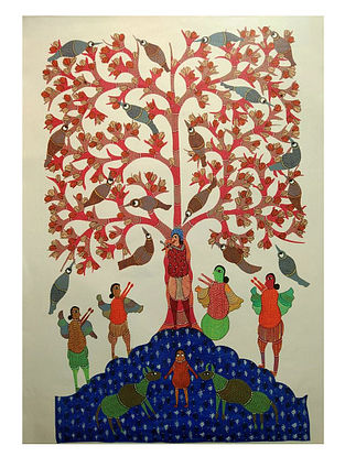Tree of Life Gond Tribal Art on Paper (10in x 14in)