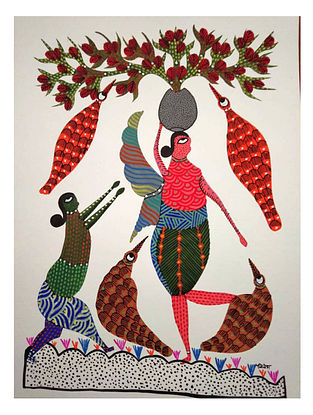 Balancing Act Gond Tribal Art on Paper (10in x 14in)
