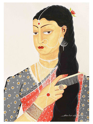 Kalighat Pattachitra Woman Combing Hair Digital Print on Archival Paper - 8.5in x 11.5in