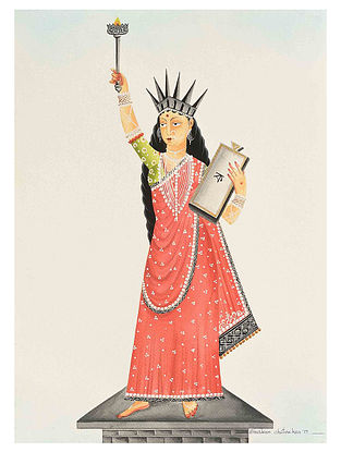 Kalighat Pattachitra Liberty Digital Print on Archival Paper - 8.5in x 11.5in