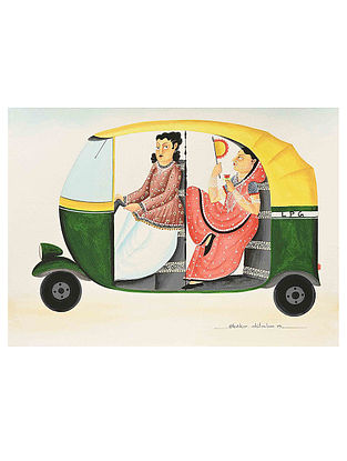 Kalighat Pattachitra Babu-Bibi In An Auto Digital Print on Archival Paper - 8.5in x 11.5in