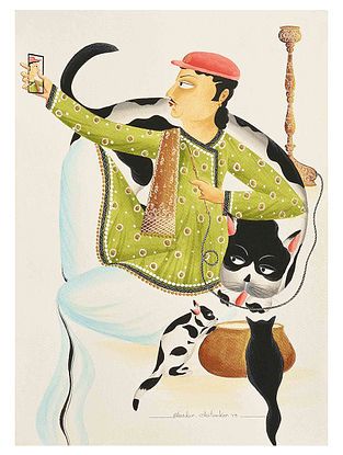 Kalighat Pattachitra Babu Taking Selfie With Cat Digital Print on Archival Paper - 8.5in x 11.5in