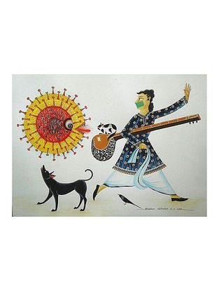 Kalighat Pattachitra Leave Me Alone Please Multicolor Digital Print on Archival Paper (8.25in x 11.6in)