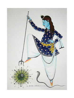 Kalighat Pattachitra Shiva the Destroyer Multicolor Digital Print on Archival Paper (8.25in x 11.6in)