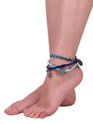 Blue Green Silver Tone Handcrafted Anklets (Set of 2)