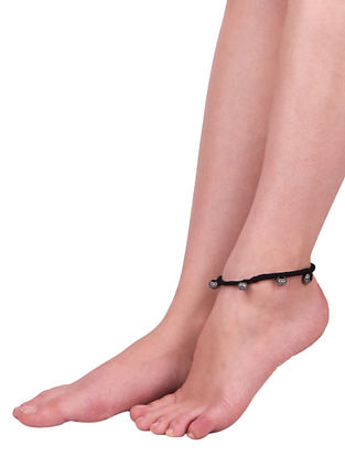 Black Silver Tone Handcrafted Anklets (Set of 2)