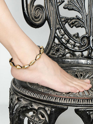 Black Gold Tone Handcrafted Anklets