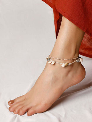 Brown White Handcrafted Shells Anklet