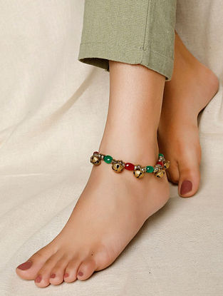 Red Green Gold Tone Handcrafted Anklet