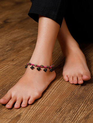 Pink Gold Tone Beaded Anklets (Set of 2)