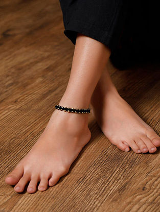 Black Gold Tone Handcrafted Anklets (Set of 2)