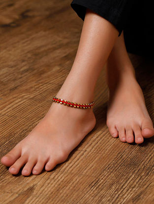 Red Gold Tone Handcrafted Anklets (Set of 2)