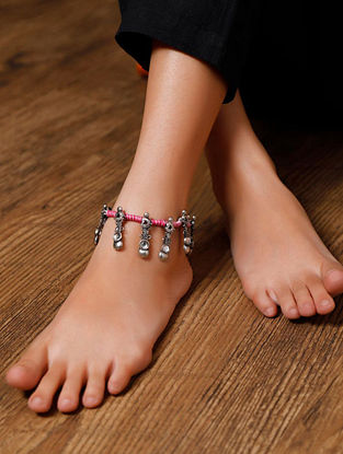 Pink Silver Tone Handcrafted Anklets (Set of 2)