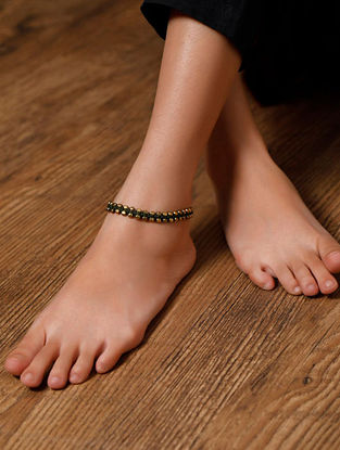 Green Gold Tone Handcrafted Anklets (Set of 2)