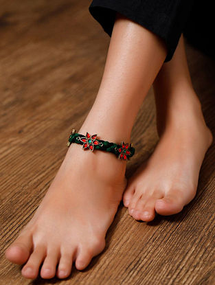 Multicolored Gold Tone Handcrafted Anklets (Set of 2)