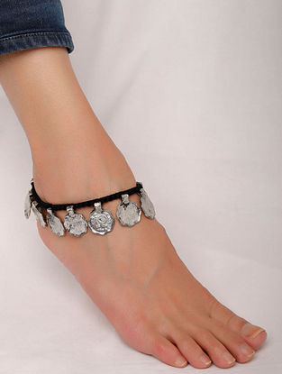 Black Silver Tone Handcrafted Anklet