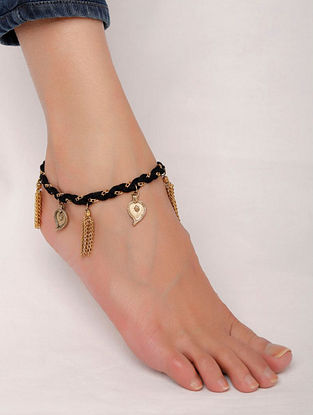 Black Gold Tone Handcrafted Anklet