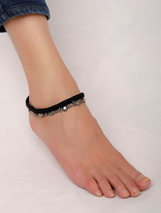 Black Silver Tone Hnadcrafted Anklet