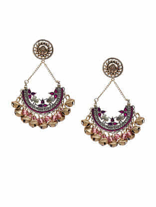 Pink Dual Tone Handcrafted Earrings with Ghungroo