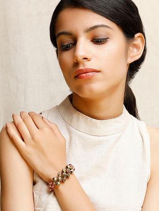Pink Gold Tone Beaded Bracelet