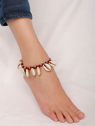 Maroon Silver Tone Handcrafted Anklet With Shells