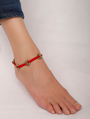 Red Gold Tone Handcrafted Anklet