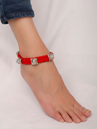 Red Silver Tone Handcrafted Anklet