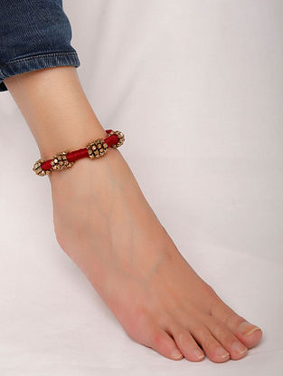 Maroon Gold Tone Handcrafted Anklet