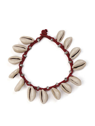 Red Silver Tone Handcrafted Bracelet With Shells