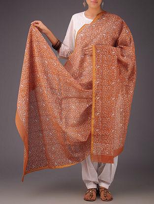 Orange-White Floral Chanderi Block-Printed Dupatta