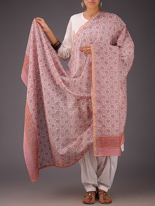 Pink-White Floral Chanderi Block-Printed Dupatta