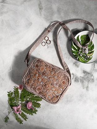 Grey Hand-embroidered Cotton Satchel Bag