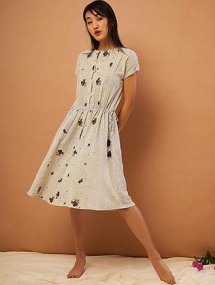 Beige-Black Hand-embroidered Cotton Dress