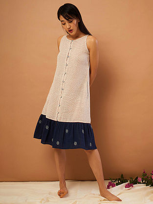 Beige-Red Hand-embroidered Cotton Dress